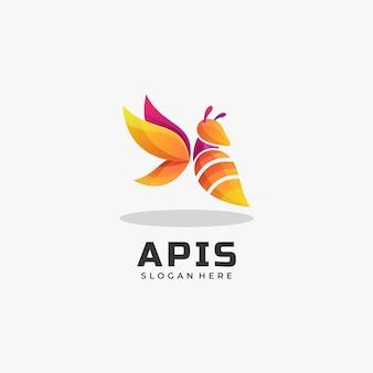 Ilustração do logotipo estilo colorido do gradiente da abelha.
