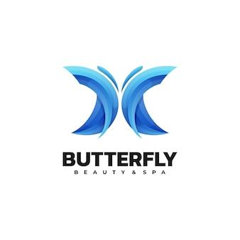 Ilustração do logotipo estilo colorido do gradiente da borboleta.