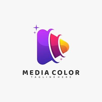 Ilustração do logotipo estilo colorido do gradiente da cor da mídia.