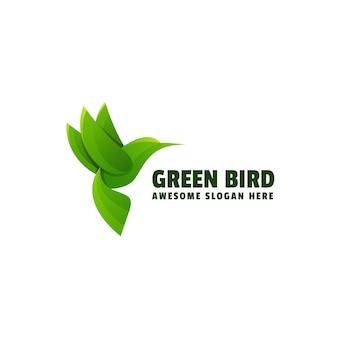 Ilustração do logotipo estilo colorido do gradiente do pássaro verde.