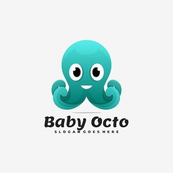 Ilustração do logotipo estilo colorido do gradiente do polvo do bebê.