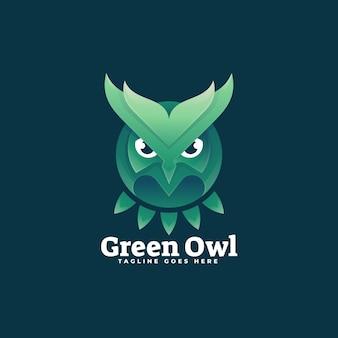 Ilustração do logotipo estilo colorido gradiente da coruja verde.