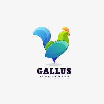Ilustração do logotipo estilo colorido gradiente de frango.