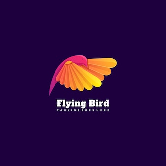 Ilustração do logotipo estilo colorido gradiente de pássaro voador.