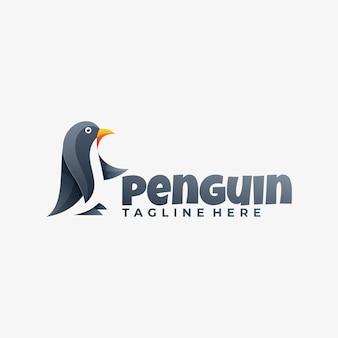 Ilustração do logotipo estilo colorido gradiente do pinguim.