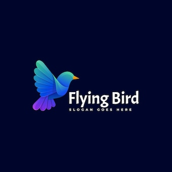 Ilustração do logotipo, estilo colorido gradiente, pássaro voador