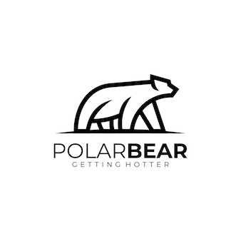 Ilustração do logotipo estilo de arte da linha do urso polar.