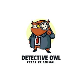 Ilustração do logotipo, estilo de desenho animado da mascote da coruja detetive