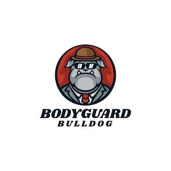 Ilustração do logotipo estilo de desenho animado do mascote do guarda-costas do buldogue