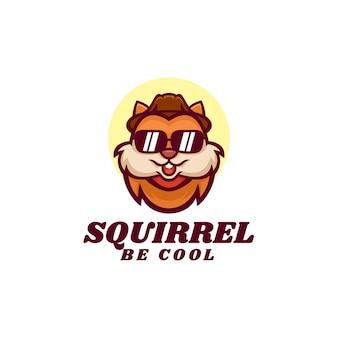 Ilustração do logotipo estilo desenho animado da mascote do esquilo legal