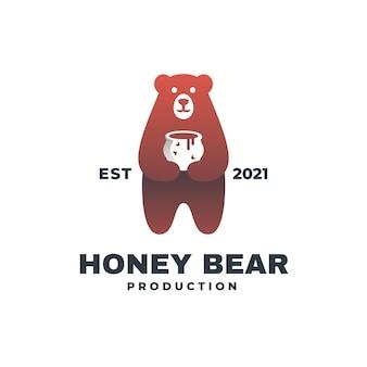 Ilustração do logotipo estilo do distintivo de cor de urso de mel.