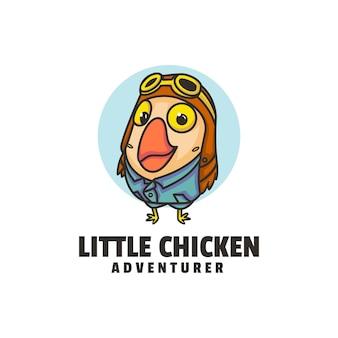 Ilustração do logotipo estilo dos desenhos animados da mascote da galinha pequena.