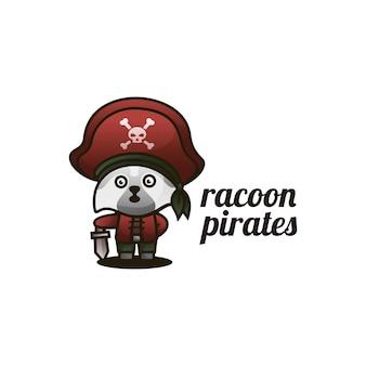 Ilustração do logotipo estilo dos desenhos animados da mascote dos piratas do guaxinim.