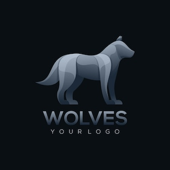 Ilustração do logotipo estilo lobo colorido