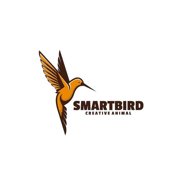 Ilustração do logotipo estilo simples da mascote do pássaro inteligente.