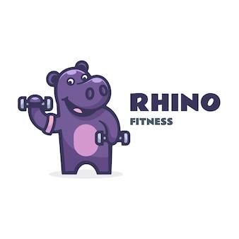 Ilustração do logotipo estilo simples da mascote do rinoceronte.