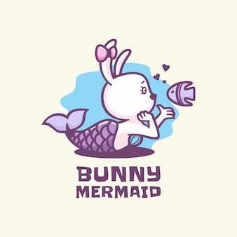 Ilustração do logotipo estilo simples mascote da sereia do coelho.