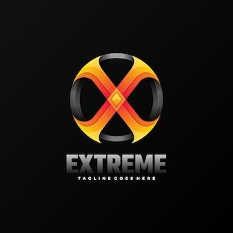 Ilustração do logotipo extreme gradient colorful style.