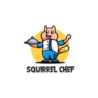 Ilustração do logotipo fofo do chef esquilo