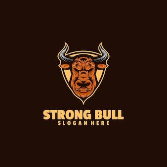 Ilustração do logotipo forte touro estilo simples mascote.
