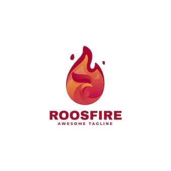 Ilustração do logotipo galo fogo gradiente estilo colorido