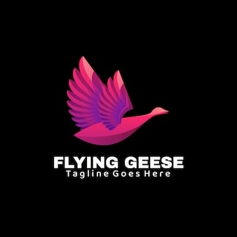 Ilustração do logotipo gansos voando estilo gradiente colorido.