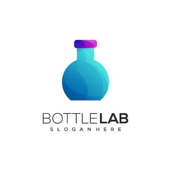 Ilustração do logotipo garrafa gradiente de laboratório colorido