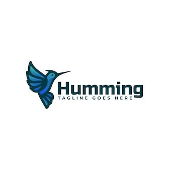 Ilustração do logotipo humming bird gradient colorful style.