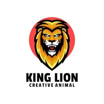 Ilustração do logotipo king lion simple mascot style.