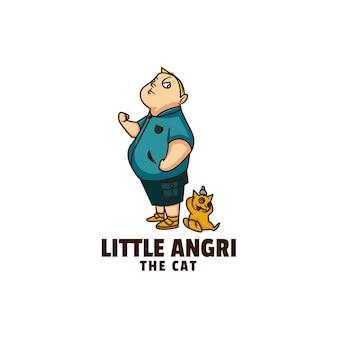 Ilustração do logotipo little angry cute cartoon.