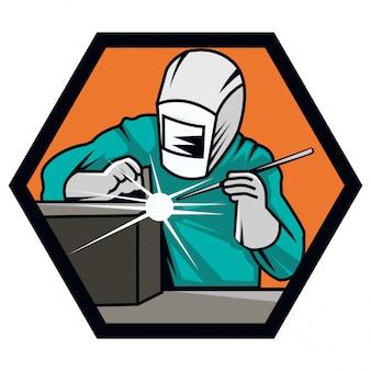 Ilustração do logotipo moderno soldador com capacete