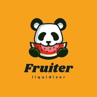 Ilustração do logotipo panda fruit estilo simples mascote.