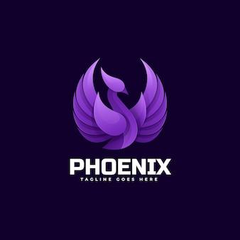 Ilustração do logotipo phoenix gradient colorful style.