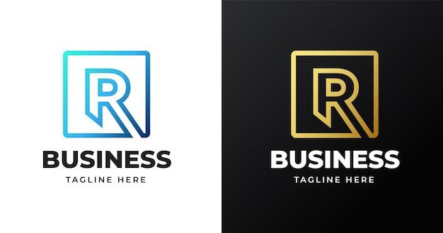 Ilustração do logotipo r inicial da letra com desenho de linhas quadradas