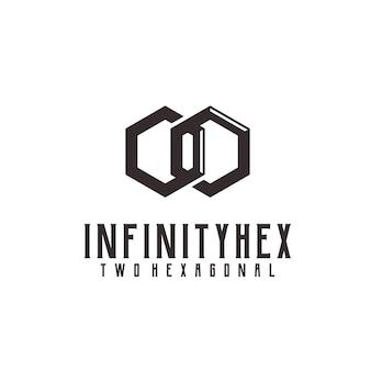 Ilustração do logotipo retrô vintage infinito hexágono