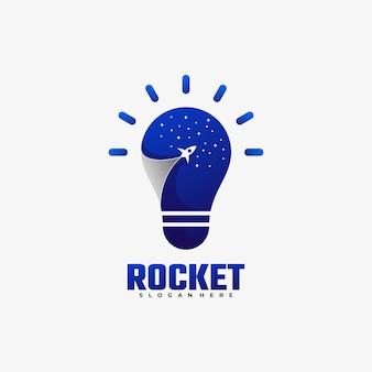 Ilustração do logotipo rocket gradient colorful style.
