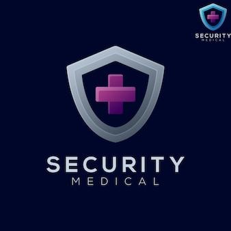 Ilustração do logotipo, segurança, gradiente médico, colorido, estilo