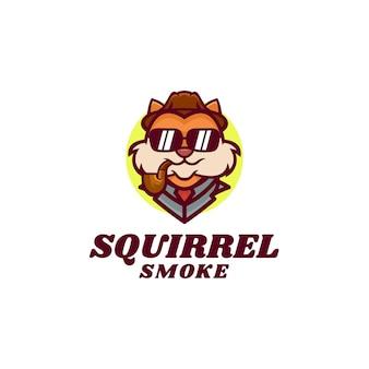 Ilustração do logotipo smoking squirrel mascot estilo cartoon