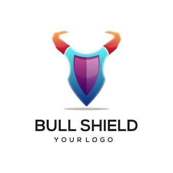 Ilustração do logotipo touro escudo gradiente estilo colorido