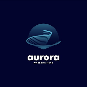 Ilustração do logotipo vetorial aurora gradiente linha arte estilo colorido