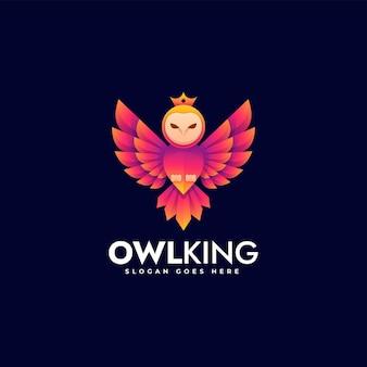 Ilustração do logotipo vetorial coruja king gradiente estilo colorido