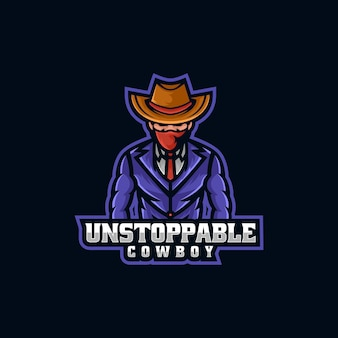 Ilustração do logotipo vetorial cowboy e esporte e estilo esportivo