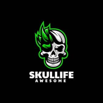 Ilustração do logotipo vetorial crânio e esporte e estilo esportivo