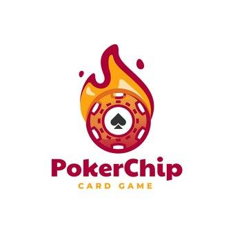 Ilustração do logotipo vetorial estilo simples mascote com fichas de pôquer