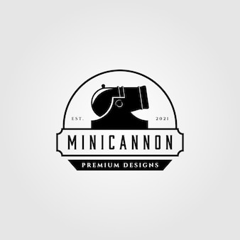 Ilustração do logotipo vintage de mini-canhão de artilharia