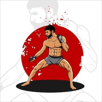 Ilustração do lutador mma