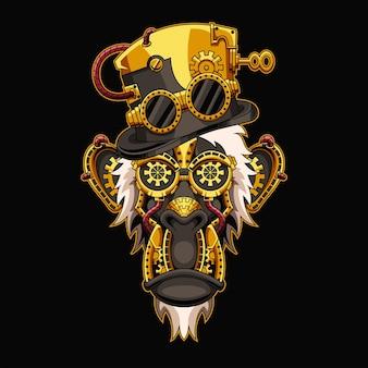 Ilustração do macaco steampunk e design da camiseta