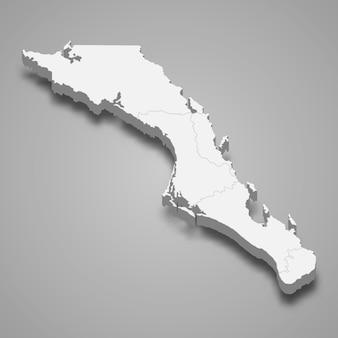 Ilustração do mapa 3d da baja california sur, estado do méxico.
