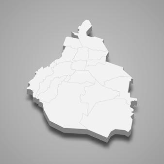 Ilustração do mapa 3d da cidade do méxico, estado do méxico