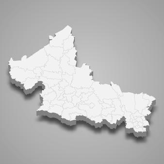 Ilustração do mapa 3d da ilustração do estado de san luis potosi do méxico